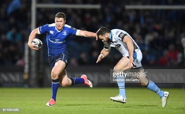 Dublin Ireland 28 April 2017 Rory O'Loughlin of Leinster is tackled by Alex Dunbar of Glasgow Warriors during the Guinness PRO12 Round 21 match...