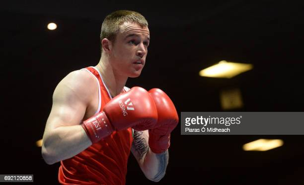 Dublin Ireland 28 April 2017 Steven Donnelly of Ireland during the 69kg bout against Artem Zaitsev of Russia at the Elite International Boxing...