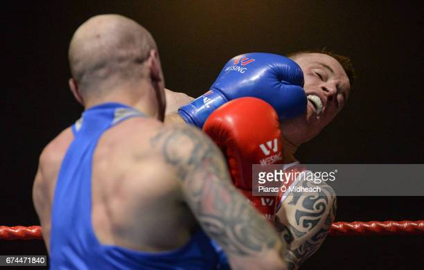 Dublin Ireland 28 April 2017 Steven Donnelly of Ireland right in action against Artem Zaitsev of Russia during their 69kg bout at the Elite...