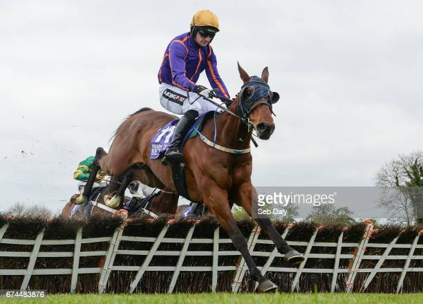 Dublin Ireland 28 April 2017 Wicklow Brave with Patrick Mullins up jump the last on their way to winning the BETDAQ Punchestown Champion Hurdle at...
