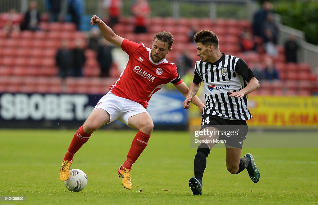 Dublin , Ireland - 28 June 2016; Ger O'Brien of St. Patrick's Athletic in action against Giancarlo Pinna of AS Jeunesse Esch during the UEFA Europa League First Qualifying Round 1st Leg game between St. Patrick's Athletic and AS Jeunesse Esch at Richmond Park in Dublin.