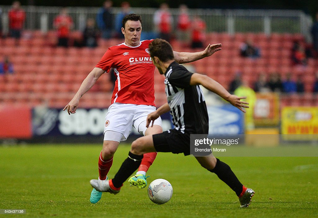 Dublin , Ireland - 28 June 2016; Keith Treacy of St. Patrick's Athletic in action against Rene Peters of AS Jeunesse Esch during the UEFA Europa League First Qualifying Round 1st Leg game between St. Patrick's Athletic and AS Jeunesse Esch at Richmond Park in Dublin.