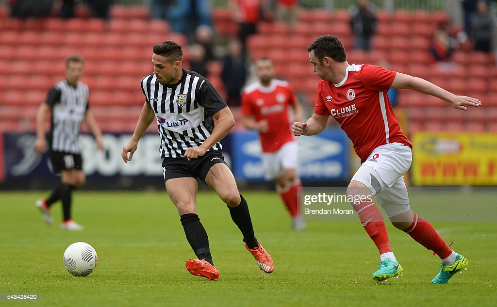 Dublin , Ireland - 28 June 2016; Patrick Patrick Stumpf of AS Jeunesse Esch in action against Keith Treacy of St. Patrick's Athletic during the UEFA Europa League First Qualifying Round 1st Leg game between St. Patrick's Athletic and AS Jeunesse Esch at Richmond Park in Dublin.