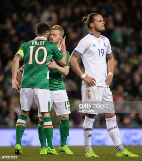 Dublin Ireland 28 March 2017 Daryl Horgan centre of Republic of Ireland with teammate Robbie Brady after coming on a as a second half substitute...