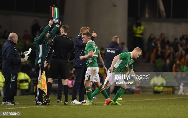 Dublin Ireland 28 March 2017 Daryl Horgan making his his international debut comes on as a second half substitute for Jonathan Hayes of Republic of...