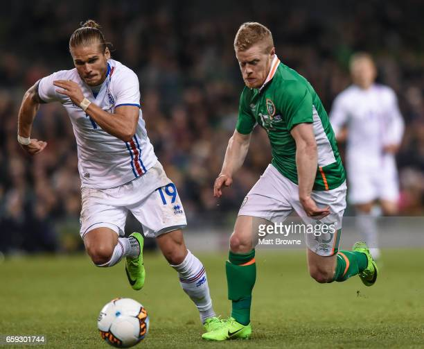 Dublin Ireland 28 March 2017 Daryl Horgan of Republic of Ireland in action against Olafur Ingi Skulsaon of Iceland during the International Friendly...