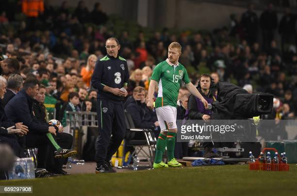 Dublin Ireland 28 March 2017 Daryl Horgan of Republic of Ireland before making his his international debut during the International Friendly match...