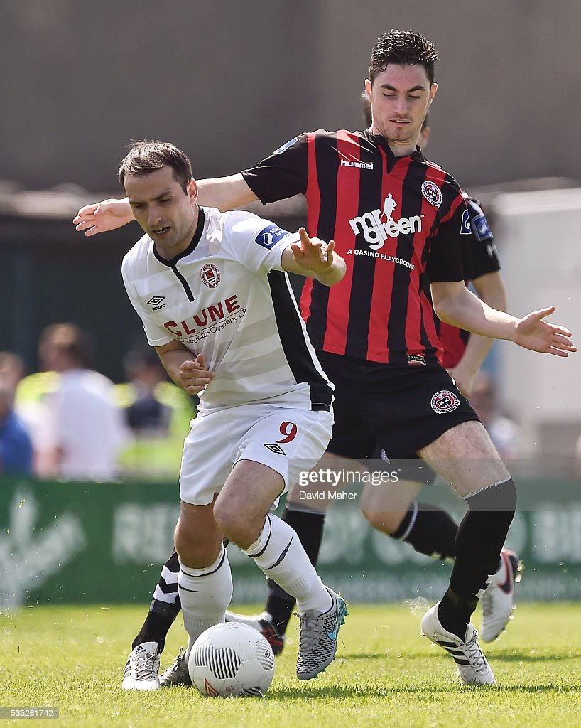 Dublin , Ireland - 29 May 2016; Christy Fagan of St Patrick's Athletic in action against Eoin Wearen of Bohemians during the SSE Airtricity League Premier Division match between Bohemians and St Patrick's Athletic at Dalymount Park, Dublin.