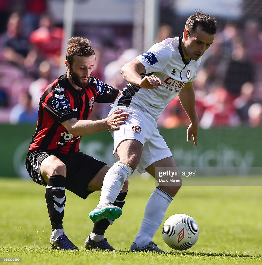 Dublin , Ireland - 29 May 2016; Christy Fagan of St Patrick's Athletic in action against Dylan Hayes of Bohemians in the SSE Airtricity League Premier Division match between Bohemians and St Patrick's Athletic at Dalymount Park, Dublin.
