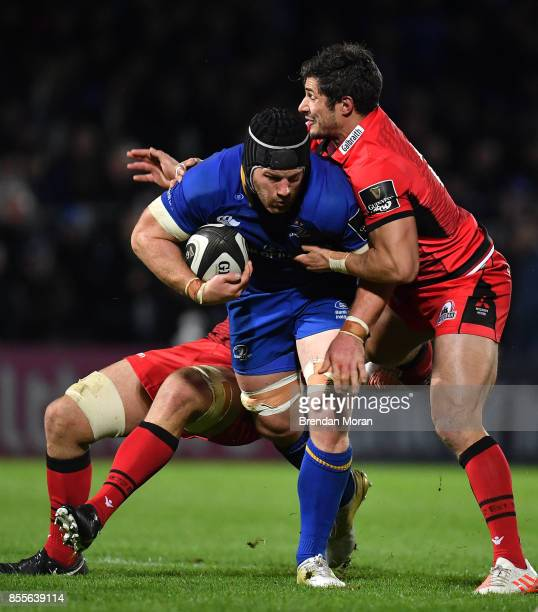 Dublin Ireland 29 September 2017 Sean O'Brien of Leinster is tackled by Cornell du Preez and Phil Burleigh of Edinburgh during the Guinness PRO14...