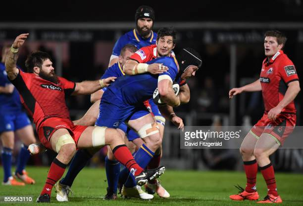 Dublin Ireland 29 September 2017 Sean O'Brien of Leinster is tackled by Cornell du Preez left and Phil Burleigh of Edinburgh during the Guinness...