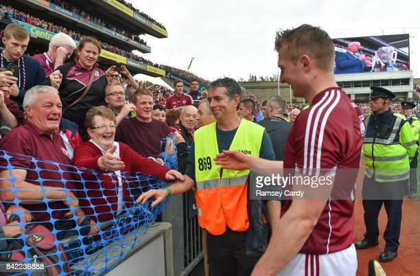 Dublin Ireland 3 September 2017 Galway's Joe Canning celebrates with his parents Sean and Josephine following the GAA Hurling AllIreland Senior...