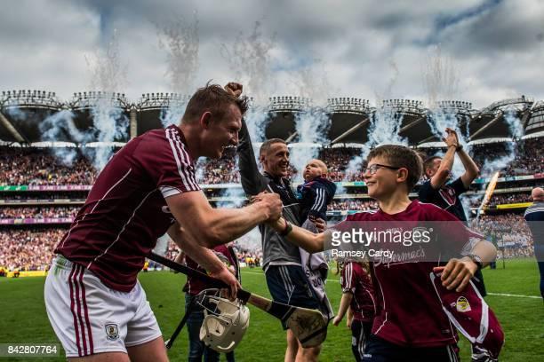 Dublin Ireland 3 September 2017 Galway's Joe Canning celebrates with Niall Donoghue son of manager Micheál following the GAA Hurling AllIreland...