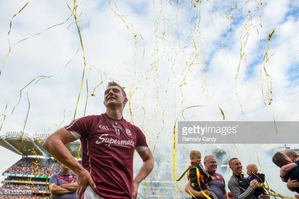 Dublin Ireland 3 September 2017 Galway's Joe Canning watches on as captain David Burke lifts the Liam MacCarthy cup following the GAA Hurling...