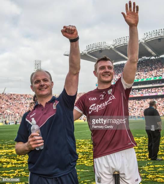 Dublin Ireland 3 September 2017 Galway's Joe Canning with manager Micheál Donoghue following the GAA Hurling AllIreland Senior Championship Final...
