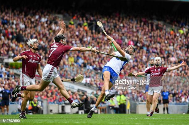 Dublin Ireland 3 September 2017 Maurice Shanahan of Waterford in action against Aidan Harte of Galway during the GAA Hurling AllIreland Senior...