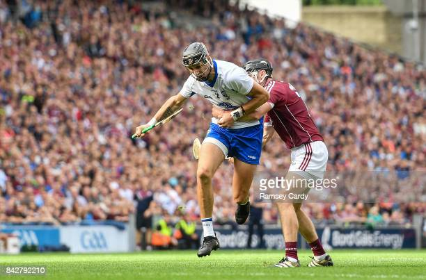 Dublin Ireland 3 September 2017 Maurice Shanahan of Waterford is tackled by Adrian Tuohy of Galway during the GAA Hurling AllIreland Senior...