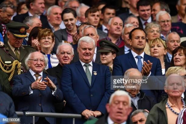 Dublin Ireland 3 September 2017 President of Ireland Michael D Higgins with Taoiseach Leo Varadkar and GAA President Aogán Ó Fearghaíl during the GAA...