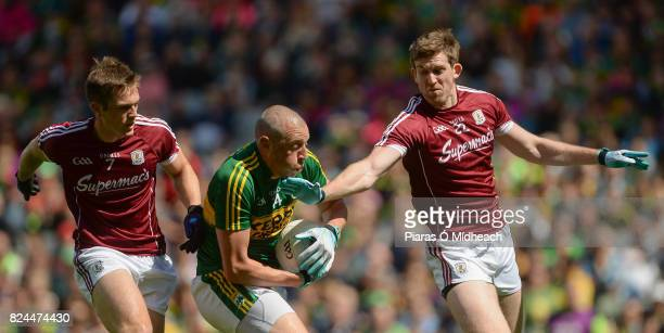 Dublin Ireland 30 July 2017 Kieran Donaghy of Kerry in action against Liam Silke left and David Walsh of Galway during the GAA Football AllIreland...