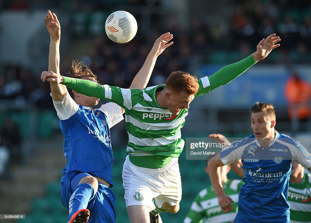 Dublin , Ireland - 30 June 2016; Gary Shaw of Shamrock Rovers in action against Juuso Hamalainen of RoPS Rovaniemi during the UEFA Europa League First Qualifying Round 1st Leg game between Shamrock Rovers and RoPS Rovaniemi at Tallaght Stadium in Tallaght, Co Dublin.