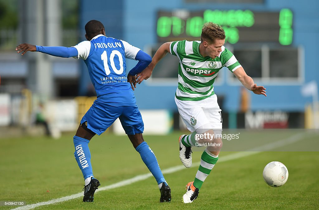 Dublin , Ireland - 30 June 2016; Simon Madden of Shamrock Rovers in action against Jean Fridolin Nganbe of RoPS Rovaniemi during the UEFA Europa League First Qualifying Round 1st Leg game between Shamrock Rovers and RoPS Rovaniemi at Tallaght Stadium in Tallaght, Co Dublin.