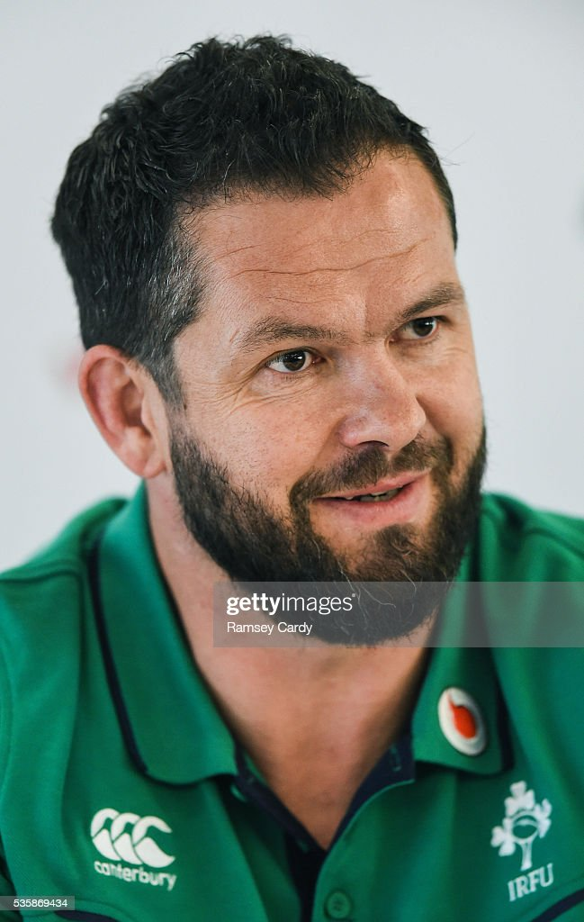 Dublin , Ireland - 30 May 2016; Ireland defence coach <a gi-track='captionPersonalityLinkClicked' href=/galleries/search?phrase=Andy+Farrell+-+Rugby+Coach&family=editorial&specificpeople=234823 ng-click='$event.stopPropagation()'>Andy Farrell</a> during a press conference in the Aviva Stadium, Lansdowne Road, Dubln.