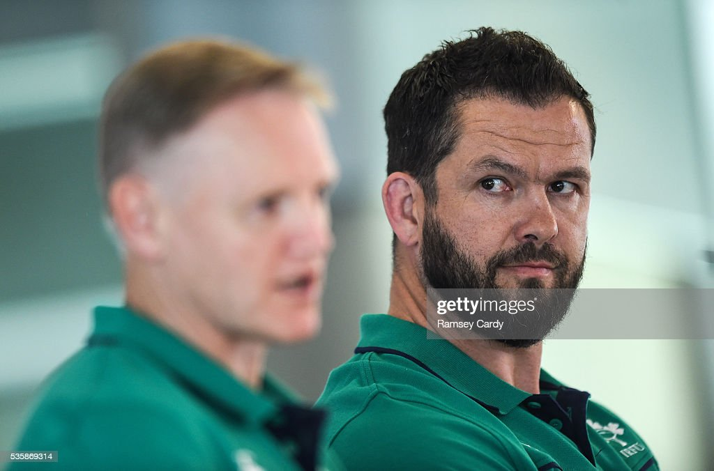 Dublin , Ireland - 30 May 2016; Ireland defence coach <a gi-track='captionPersonalityLinkClicked' href=/galleries/search?phrase=Andy+Farrell+-+Rugby+Coach&family=editorial&specificpeople=234823 ng-click='$event.stopPropagation()'>Andy Farrell</a>, right, and head coach Joe Schmidt during a press conference in the Aviva Stadium, Lansdowne Road, Dubln.