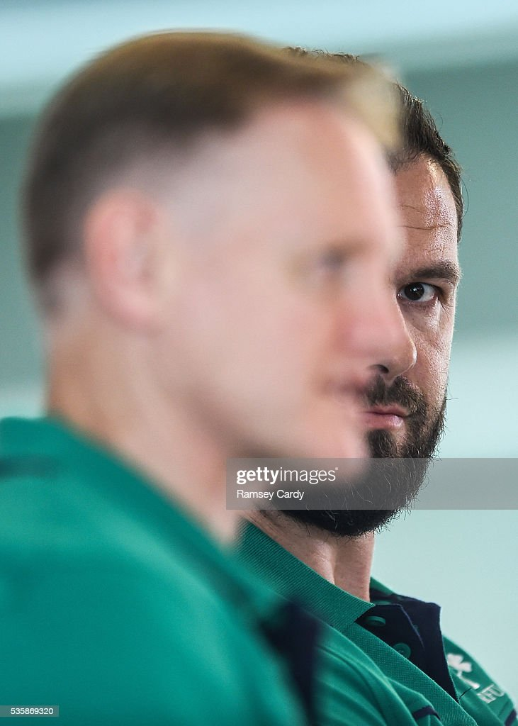 Dublin , Ireland - 30 May 2016; Ireland defence coach Andy Farrell, right, and head coach Joe Schmidt during a press conference in the Aviva Stadium, Lansdowne Road, Dubln.