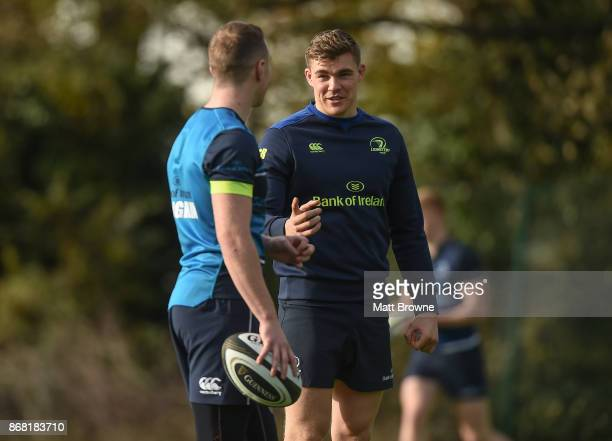 Dublin Ireland 30 October 2017 Garry Ringrose with Rory O'Loughlin during Leinster Rugby Squad Training at UCD Belfield in Dublin