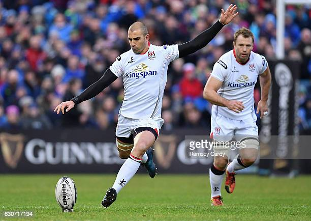 Dublin Ireland 31 December 2016 Ruan Pienaar of Ulster kicks a penalty during the Guinness PRO12 Round 12 match between Leinster and Ulster at the...