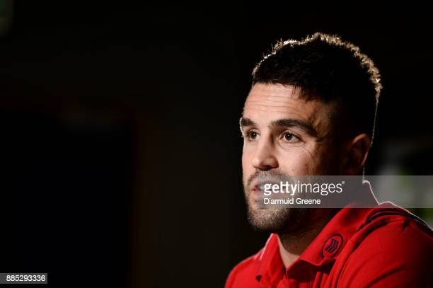 Dublin Ireland 4 December 2017 Conor Murray of Munster during a Munster Rugby press conference at the University of Limerick in Limerick