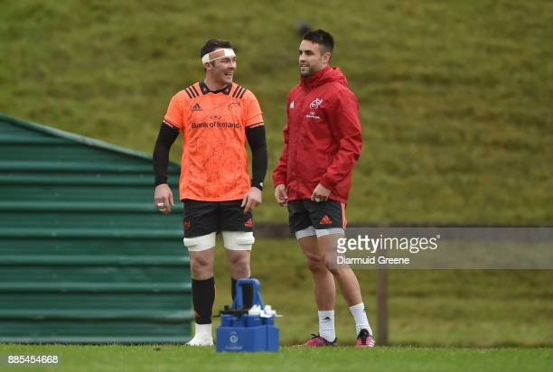 Dublin Ireland 4 December 2017 Peter O'Mahony and Conor Murray during Munster Rugby squad training at the University of Limerick in Limerick