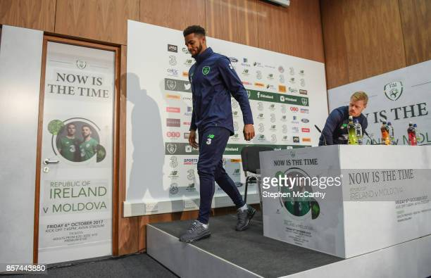 Dublin Ireland 4 October 2017 Republic of Ireland's Cyrus Christie left and Daryl Horgan during a press conference at the FAI National Training...
