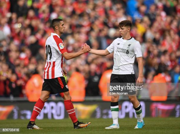 Dublin Ireland 5 August 2017 Ben Woodburn of Liverpool shakes hands with Sabin Merino of Athletic Bilbao during the International Club soccer match...