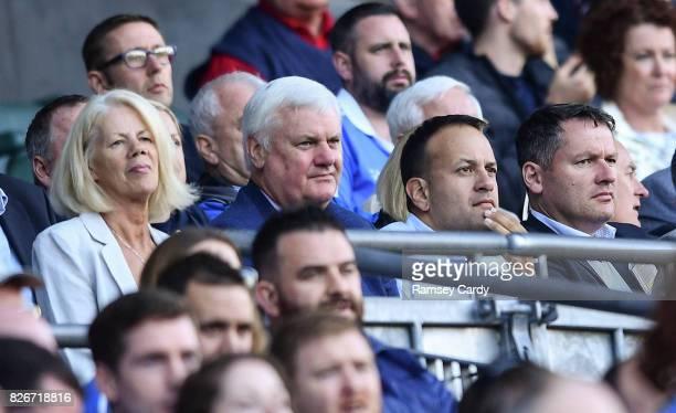 Dublin Ireland 5 August 2017 Uachtarán Chumann Lúthchleas Gael Aogán Ó Fearghail centre with wife Frances and An Taoiseach Leo Varadkar during the...