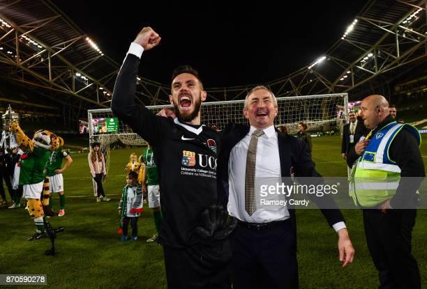Dublin Ireland 5 November 2017 Cork City manager John Caulfield and Mark McNulty celebrates following the Irish Daily Mail FAI Senior Cup Final match...