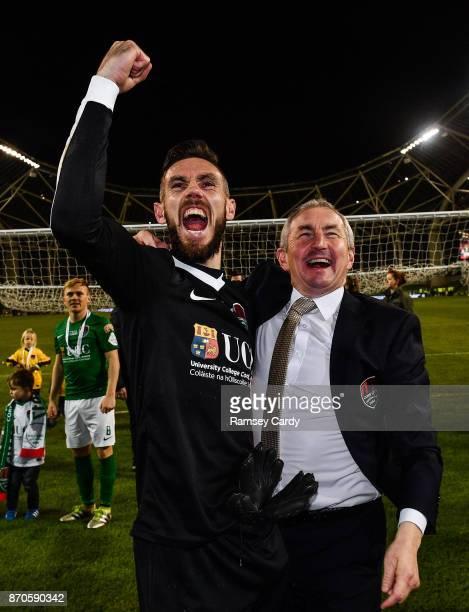 Dublin Ireland 5 November 2017 Cork City manager John Caulfield and Mark McNulty celebrate following the Irish Daily Mail FAI Senior Cup Final match...