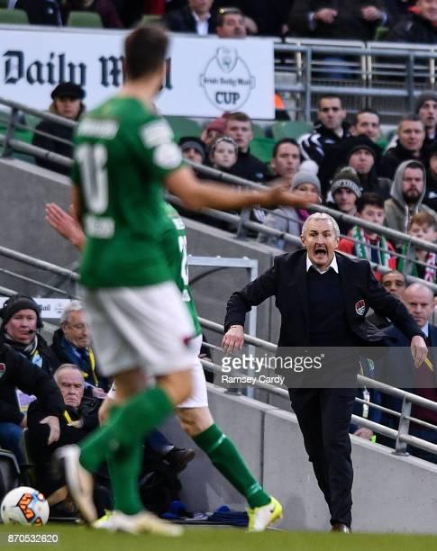 Dublin Ireland 5 November 2017 Cork City manager John Caulfield during the Irish Daily Mail FAI Senior Cup Final match between Cork City and Dundalk...