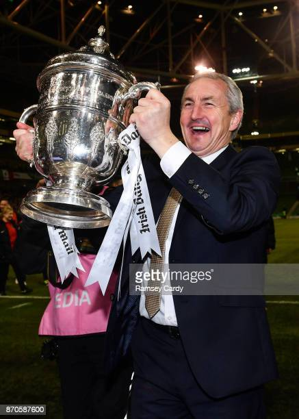 Dublin Ireland 5 November 2017 Cork City manager John Caulfield celebrates following the Irish Daily Mail FAI Senior Cup Final match between Cork...