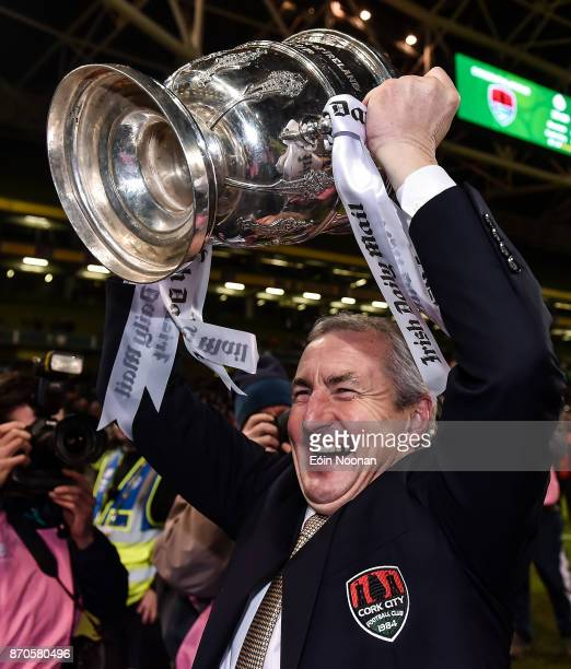 Dublin Ireland 5 November 2017 Cork City manager John Caulfield celebrates with the cup after the Irish Daily Mail FAI Senior Cup Final match between...