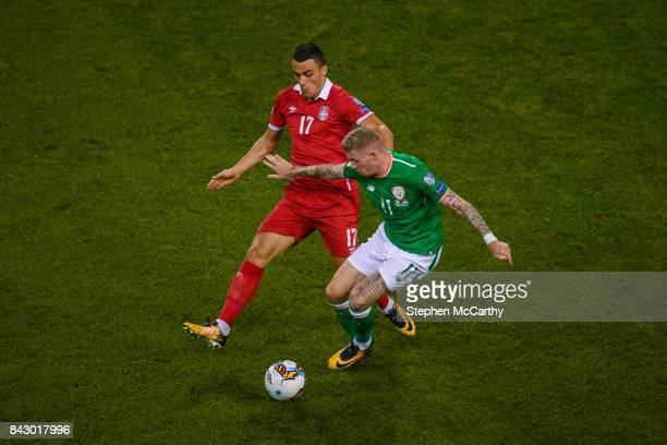 Dublin Ireland 5 September 2017 James McClean of Republic of Ireland in action against Filip Kosti of Serbia during the FIFA World Cup Qualifier...