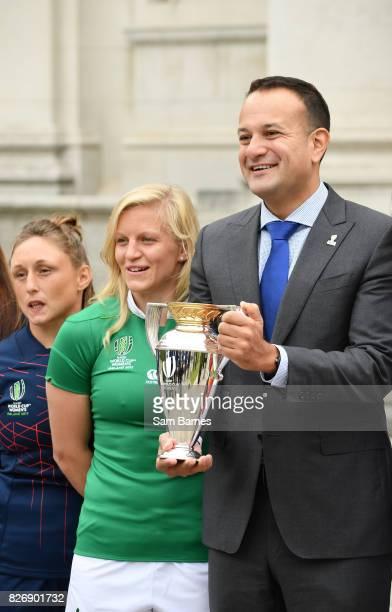 Dublin Ireland 6 August 2017 Ireland captain Claire Molloy and An Taoiseach Leo Varadkar in attendance as an Taoiseach Leo Varadkar TD meets the...