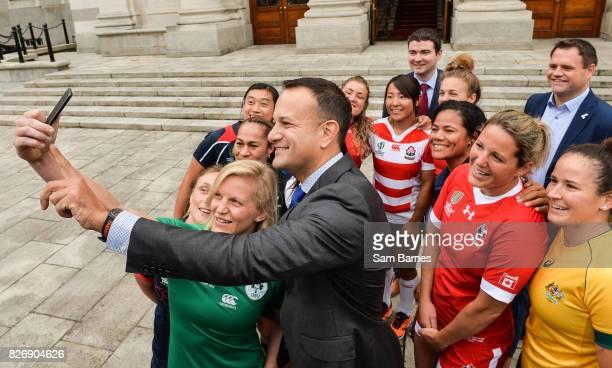 Dublin Ireland 6 August 2017 Ireland captain Claire Molloy and An Taoiseach Leo Varadkar take a selfie with the captains as an Taoiseach Leo Varadkar...