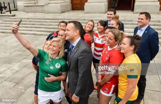 Dublin Ireland 6 August 2017 Ireland captain Claire Molloy takes a selfie as an Taoiseach Leo Varadkar TD meets the captains of each of the 12...