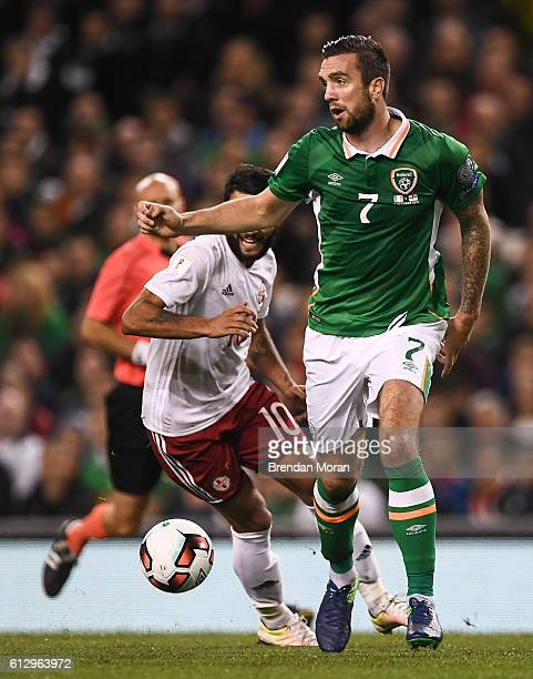 Dublin Ireland 6 October 2016 Shane Duffy of Republic of Ireland in action against Tornike Okriashvili of Georgia during the FIFA World Cup Group D...
