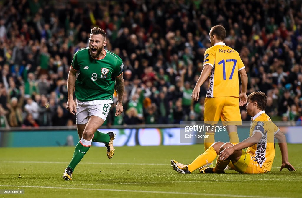 Dublin , Ireland - 6 October 2017; Daryl Murphy of Republic of Ireland celebrates after scoring his side's first goal during the FIFA World Cup Qualifier Group D match between Republic of Ireland and Moldova at Aviva Stadium in Dublin.