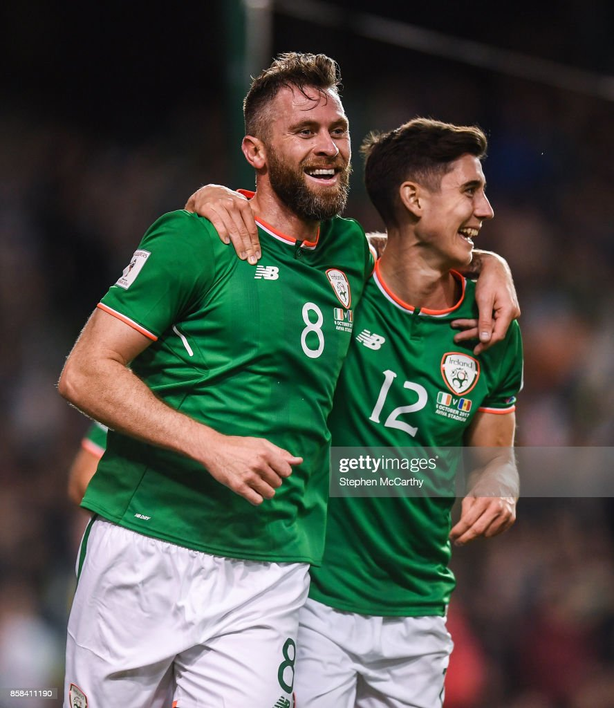 Dublin , Ireland - 6 October 2017; Daryl Murphy of Republic of Ireland celebrates after scoring his side's second goal with team-mate Callum O'Dowda, right, during the FIFA World Cup Qualifier Group D match between Republic of Ireland and Moldova at Aviva Stadium in Dublin.