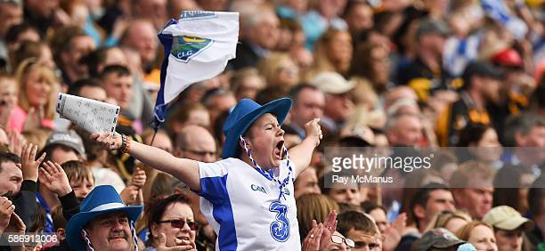Dublin Ireland 7 August 2016 Fourteen year old Trevor O'Grady from Waterford City reacts to a score for his side during the GAA Hurling AllIreland...