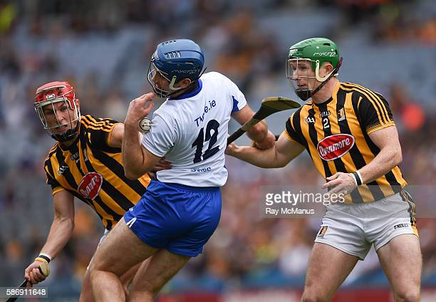 Dublin Ireland 7 August 2016 Michael Walsh of Waterford in action against Paul Murphy left and Paul Murphy of Kilkenny during the GAA Hurling...
