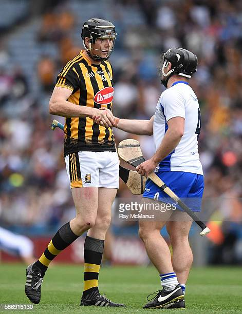 Dublin Ireland 7 August 2016 Walter Walsh of Kilkenny and Noel Connors of Waterford shake hands after the GAA Hurling AllIreland Senior Championship...